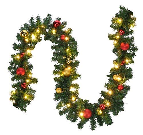 Bambelaa! Tannengirlande Grün Weihnachtsdeko Beleuchtet Künstlich Mit Lichterkette Weihnachten Dekoration Rot Gold 5m