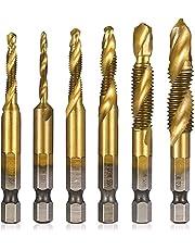 6Pcs Boor Tap Combinatie Titanium Gecoate Hss 1/4Inch Hex Shank Metrische Draad Boor En Tap Bits set M3 M4 M5 M6 M8 M10 Hand Schroef Kranen Gereedschap Set (Long drill)