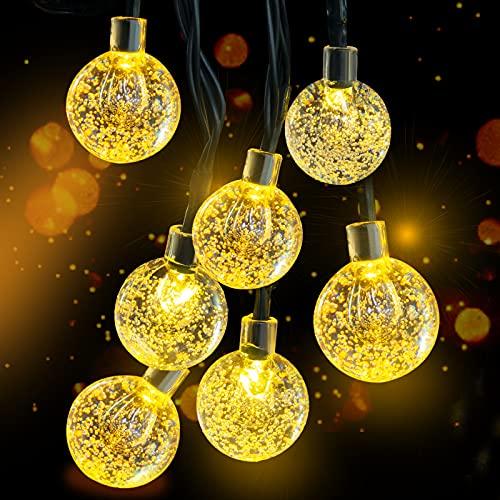 Solar Lichterkette, 30 Süße Blase LED Lichter, 6,5M / 20Ft 8 Modi Sternenlichter, Wasserdichte Feenhafte Dekorative Lichterketten für Außen, Hochzeits, Wohn, Garten, Terrassen, Party(Warmweiß)