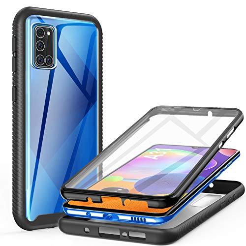 ivencase für Samsung Galaxy A31 Hülle, Stoßfest Cover Samsung Galaxy A31 360 Grad vollschutz Handyhülle Rugged Schutzhülle mit Bildschirmschutz Stürzen Stößen Handyhülle, Schwarz