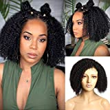 Kinky Curly Lace Front Bob Wigs Human Hair Wig for Black Women MSGEM Mogolian Afro Kinky Curly 4x4 Lace Closure Wigs Human Hair Pre plucked Short Curly Bob Wig 12 inch Glueless Lace Wigs With Baby Hair 150% Density Knots Bleached