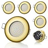 6 focos LED empotrables SW-68N Sweet Led® planos, ultraplanos, 400 lúmenes, 3,5 W, 230 V (redondos, dorados, luz blanca cálida)