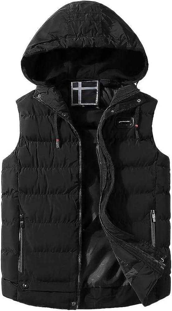 Vest Jacket for Men Autumn Winter Coat Padded Cotton Vest Warm Hooded Thick Vest Jacket Top