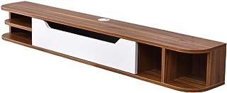 ZY-XSP Estante de madera maciza para TV montado en la pared, estante para decodificador colgante, con compartimento de alm...