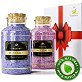 Your Majesty SPA Lavender Bath Salts Gift Set - Enriched with 5 Minerals for Deep Sleep, Relax and Nourish Skin and Foot - Comes in Luxury Gift Box