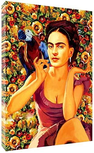 Frida Kahlo in Wonder Blumen Und Papagei Leinwand Malerei Porträt Wand-Kunst-Plakatdruck Auf Leinwand Hauptdekor Bild Für Schlafzimmer, Rahmenlos,50×70cm