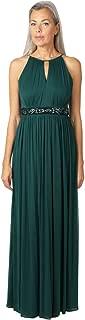 ONYX Nite Women's Halter Neck Front Keyhole Matte Jersey Chiffon Dress with Waist Beading and Shirring