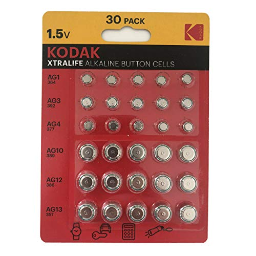 Kodak Xtralife - 30 x Batterie alcaline a bottone AG1 364 AG3 392 AG4 337 AG10 389 AG12 386 AG13 357.