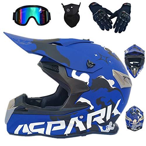 Casco de moto infantil Goggle, guantes, gafas de motocross, cascos, niño, casco integral BMX, quad, enduro, scooter, D. O. T Standard (azul, L)