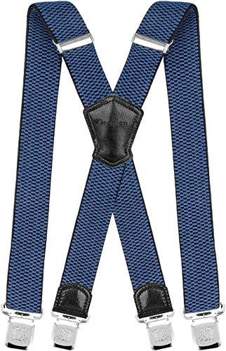 Decalen Hosenträger für Herren Breit 4 cm mit sehr Starken 4 Metall Clip Lang Einheitsgröße für Männer und Damen Einstellbar und Elastisch X Style (Blau)