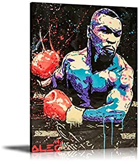 Zwhart HD Printed Oil Paintings Home Wall Decor Art on Canvas Alec Monopoly Boxing Mike Tyson 5size#064 (Framed,18x24inch)