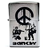 Banksy バンクシー 刻印 zippo 200 ライター CND Soldiers ピースマークを消す兵隊 オイルライター デザイン グラフィティアート キャンバス アート