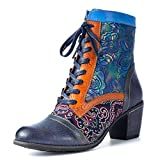 gracosy Leather Ankle Bootie for Women, Block Heel Boots Vintage Fashion Short Boots Side Zipper Floral Pattern Bohemia Handmade Lace up Boots Blue 11 US