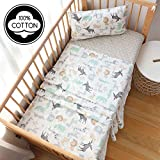 3 Piece 100% Cotton Toddler Sheet Pillowcase Set for Boys and Girls,Include Fitted Sheet,Top Sheet and Envelope Pillowcase,Cute Cartoon Pattern,Soft Skin-Friendly Breathable (Animals)