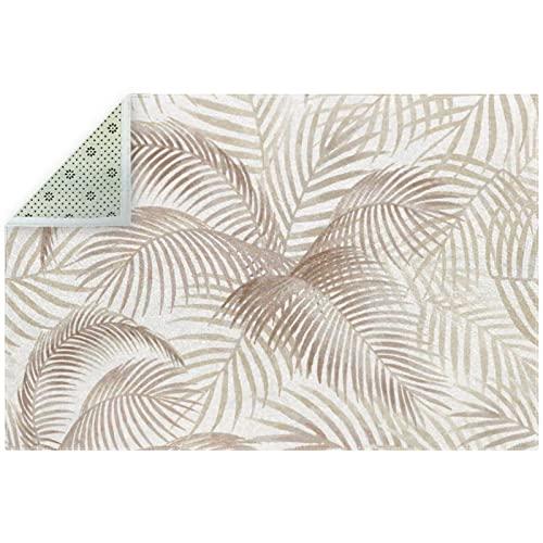 Alfombra de piso suave con hojas de palma, color marrón claro, antideslizante, decoración del hogar para interiores, sala de comedor y dormitorio