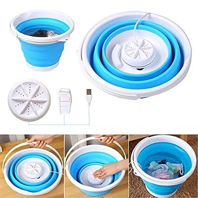 Mini Washing Machine, Formemory Portable Folding Bucket Turbo Ultrasonic Washing Machine Personal Travel Washing Machine with Remote Control for Lazy Magic Laundry Machine?Blue?