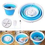 Mini Washing Machine, Formemory Portable Folding Bucket Turbo Ultrasonic Washing Machine Personal Travel Washing Machine with Remote Control for Lazy Magic Laundry Machine(Blue)