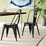 BELLEZE Vintage Style Metal Dining Chairs - Black (Set of 4) Stackable Backrest Chair for Kitchen & Office