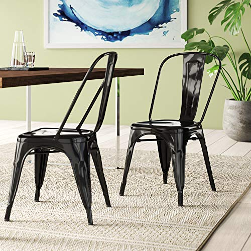 BELLEZE Vintage Style Metal Dining Chairs - Black (Set of 4) Stackable Backrest Chair for Kitchen &...