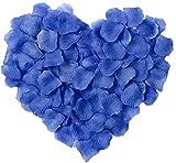 LinTimes 2000 pétalos de rosa artificiales, hojas de seda artificiales para decoración de boda, día de San Valentín, cumpleaños, color azul