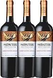 VINELLO 3er Weinpaket Rotwein - Limited Selection Cabernet Sauvignon Carmenère 2018 - Montes mit Weinausgießer | trockener Rotwein | chilenischer Wein aus Valle Central | 3 x 0,75 Liter