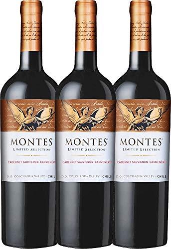 VINELLO 3er Weinpaket Rotwein - Limited Selection Cabernet Sauvignon Carmenère 2019 - Montes mit Weinausgießer | trockener Rotwein | chilenischer Wein aus Valle Central | 3 x 0,75 Liter