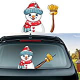 SUNACCL Car Stickers and Decals Christmas Rear Window Wiper Stickers Snowman Rear Windshield Stickers Waterproof Decal for Car Decoration (Snowman-2)