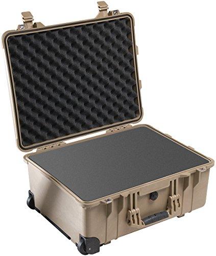 PELI 1560 Caja de transporte rígida estanca con ruedas y asa telescópica, IP67 estanca e impermeable al polvo, 44L de capacidad, fabricada en Alemania, con espuma personalizable, Beige