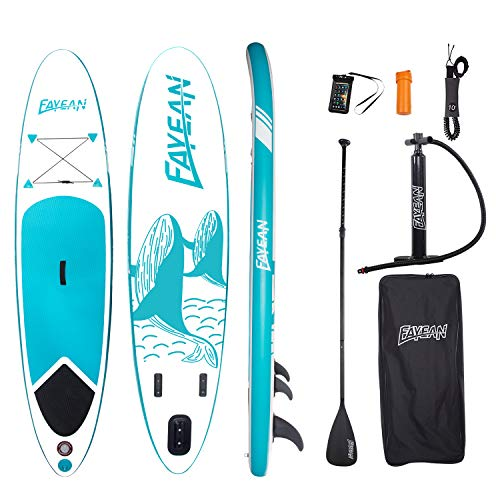 "FAYEAN Inflatable Stand Up Paddle Board 10'x28""x6"" SUP ISUP Round Board Include Hand Pump, Paddle, Backpack, Coil Leash,Carry Bag, Repair Kit and Waterproof Case (Blue Whale)"