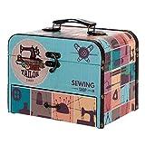 """Caja Costura Decorativa de Madera con Set de Costura """" Maquina de Coser"""". Costureros. Cajas Multiusos. Regalos Originales. Decoración Hogar. 25,50 x 18 x 20 cm."""