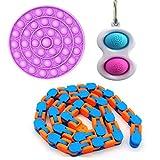 Sensory Toys Fidget Simple hoyuelos Juguete para aliviar el estrés, juguetes de mano para niños y adultos, ADHD, autismo, estrés, ansiedad, paquete de herramientas, cadena flippy