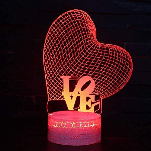 Love Shape 3D Night Light Lámpara de escritorio LED Slide 7 Color Variable USB Touch Control remoto Decoración del hogar Vacaciones especiales Regalo de cumpleaños para niños