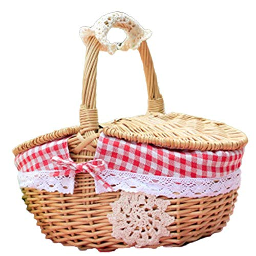 Ynnixa 1 Piece Outdoor Picnic Basket Handmade Woven Wicker Picnic Basket Red Gingham Lined Home Storage Basket