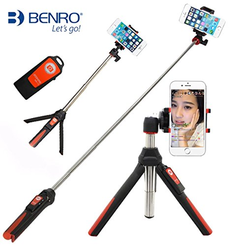 Handheld trípode 3 en 1 Monopie de autorretrato extensible teléfono selfie stick con disparador remoto por Bluetooth(Naranja)