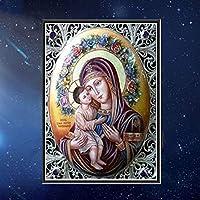 完全なドリルダイヤモンドは聖母マリアによってナンバーキット、5D DIYダイヤモンドの刺繍クリスタルラインストーンクロスステッチモザイク絵画家の壁の装飾のための芸術品、工芸品絵画 B