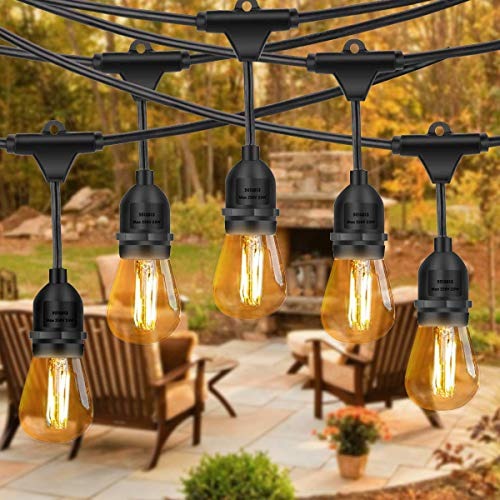 Amabana Outdoor Led String Lights 48Ft, Waterproof Connectable Patio String Lights, 15 Hanging Sockets, 15 Vintage Edison Bulbs, Commercial Grade Outdoor Lighting for Garden Christmas Wedding Party