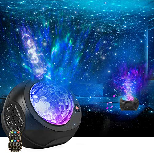 Star Night Lights Projector, HueLiv 3 in 1 Galaxy Light Projector, Sky Nebula/Moving Ocean Wave, Best Gift for Kids Adults for Bedroom/Party with Hi-Fi Stereo Bluetooth Speaker, Voice&Remote Control