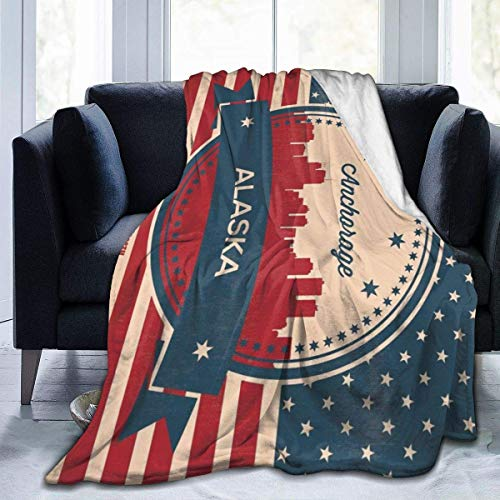 AEMAPE Retro Nashville Skyline Fleece Blanket Throw Lightweight Manta Super Soft Cozy Bed Manta cálida para Sala de Estar/Dormitorio Toda la Temporada 50x60 pulgadas-K01