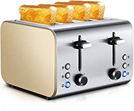 محمصة خبز من 4 قطع، 7 مرات قابلة للتعديل، 3 وظائف، محمصة خبز من الفولاذ المقاوم للصدأ، مع صينية فتات الخبز القابلة للإزالة