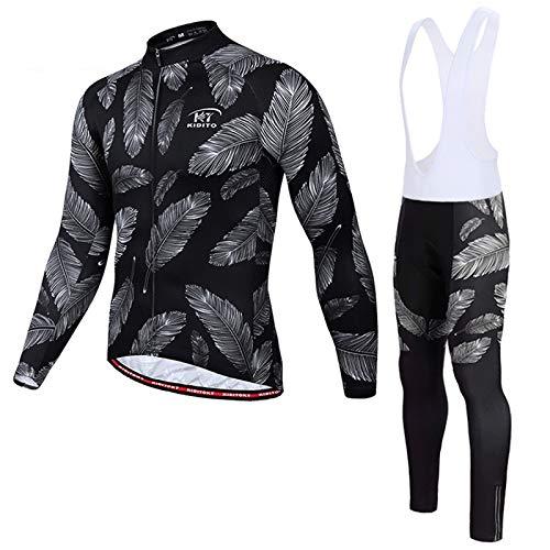 Herren Langarm Radsportanzüge Radtrikot Set Men's Cycling Suit MTB Radfahren Kleidung Langärmeliges Fahrradtrikot Atmungsaktiv Elastische Schnell Trocknend Trägerhosen mit 3D Gel Sitzpolster,ZX15,4XL