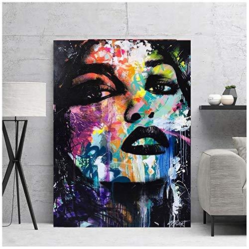 neivy Graffiti Kunst Frau 5D Diamant Malerei Kits für Erwachsene Malen mit Diamanten Kunst Malen nach Zahlen Vollbohrung Strass Bastel Leinwand für Home Wall Decor (Quadrat 30x40cm)