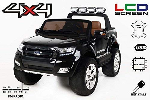 RIRICAR Kinder Elektroauto Ford Ranger Wildtrak - Allrad 4x4, Schwarz, 2 Sitzer, mit 2.4Ghz Fernbedienung, 24 Monate - 8 Jahre, 2x12 V Batterie
