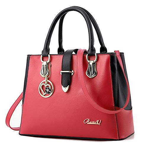 Purses and Handbags for Women Tote Shoulder Crossbody Bags with Long Strap Detachable (Red)