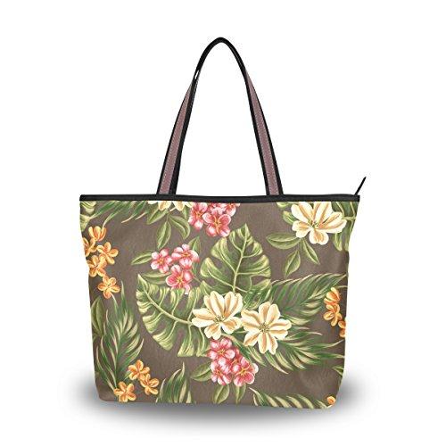 Ahomy Aquarell-Blumen, tropische Blätter, groß, leicht, Schultertasche für Fitnessstudio, Wandern, Picknick, Reisen, Strand, Mehrfarbig - multi - Größe: M