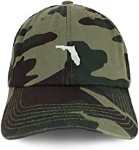 Trendy Apparel Shop Florida State Map Embroidered Soft Crown 100% Brushed Cotton Cap - CAMO