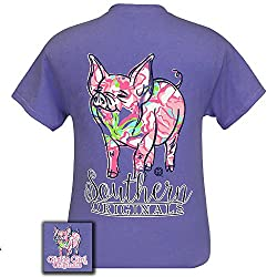 Girlie Girl Originals Unisex T-Shirt - Pig Pattern Design - Color Purple