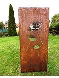 Irony24 Edelrost Sichtschutz 150 x 65 cm Pusteblume inkl. Bodenanker