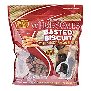 Sportmix Wholesomes Basted Biscuit With Smoky Bacon Flavor Grain Free Dog Treats, 3 Lb.