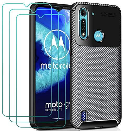 ivoler Hülle für Motorola Moto G8 Power Lite, Handyhülle mit 3 Panzerglas Schutzfolie, Schwarz Stylisch Karbon Design Anti-Kratzer Stoßfest Schutzhülle Cover Weiche TPU Silikon Hülle