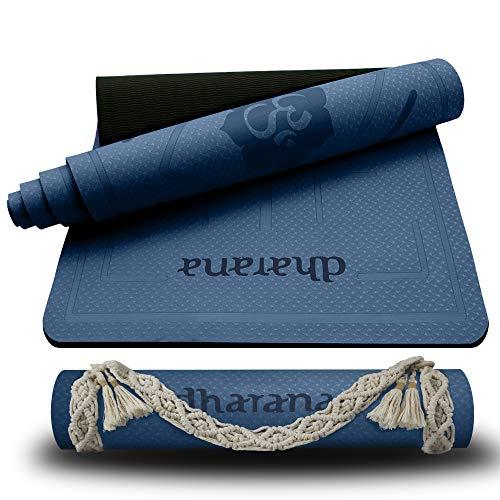 Dharana Esterilla Yoga Mat Antideslizante Profesional- Colchoneta Gruesa para Deportes - Gimnasia Pilates Fitness - Ecológica - Accesorio Correa Tejida de Macramé para Trasportar (Azul)